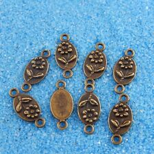 **40pcs Vintage Bronze Tone Alloy Oval Flower Charm Connector Finding 38120