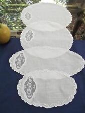 Set of 4 Antique Madeira White Linen Vanity Doilies Organdy Insert Monogram KBG