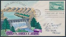 "#1009-30 ""GRAND COULEE DAM"" 50TH ANNIIV. ON HAND PAINTED WRIGHT FDC CACHET BT945"