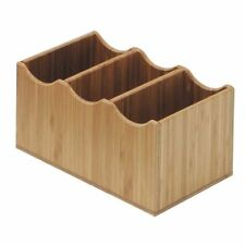 """Cal-Mil Cutlery Holder Bamboo 3 Compartment - 8 1/4""""L x 5 1/2""""W x 4 3/4""""H, 1244"""