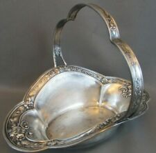 RARE 1800's Sterling Silver REPOUSSE Flower Basket B44A Candy nut dish STUNNING