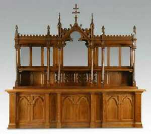 Back Bar, Buffet, Gothic Revival Style Carved Oak Display with Mirrors, Amazing!