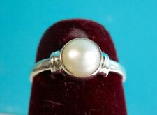 925 St. Silver Skin Touch Ring Studded With White 7 MM Pearl