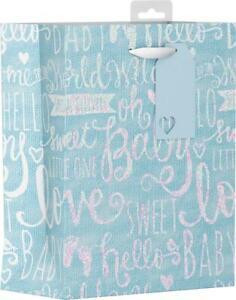 Boys Blue Baby Shower Gift Bag Medium Love Sweet Baby Sparkle Mum To Be Luxury