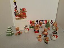 17 Homco Bears Cats Christmas Winter Time Holiday Kitten, Bears, Snowman & Trees
