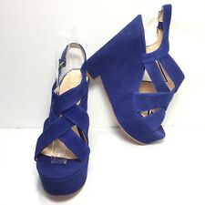 Women's DOLCE VITA Blue Leather Suede Cross Strap High Heel Wedges SZ 8.5 New
