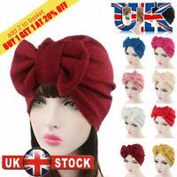 Snood Scarf Women's Fashion Bow Turban Bonnet Chemo Cap Hijab Beanie Hat FS