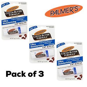 3x Palmers  Ultra Moisturizing 4g Lip Balm SPF15 Cocoa Butter Formula