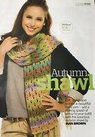 KNITTING PATTERN Ladies Lace Patterned Shawl Wide Scarf Self Striping Noro DK