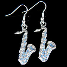 w Swarovski Crystal music musical instrument TENOR ALTO ~Blue SAXOPHONE Earrings