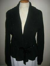 LAUREN Ralph Lauren Size L Black Shawl Collar Velour Tie Waist Sweater Jacket