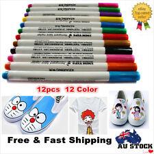12PCS Multicolored Permanent Fabric Paint Pens T-Shirt Textile Shoes DIY Markers