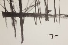 JOSE TRUJILLO Landscape ABSTRACT Collectible INK WASH Paper BLACK White Minimal