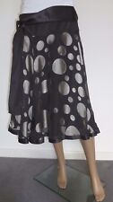 HOBBs women's party belted dark grey and silver flaired silk skirt UK 10
