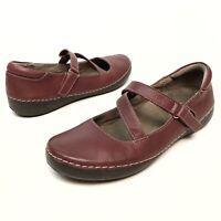 Vionic Judith Burgundy Leather Mary Jane Flats Women's Size 9M Wedge Comfort EUC