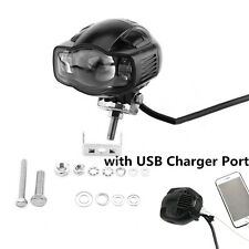 1x Waterproof Cree LED Motorcycle Headlight Spot Beam Lamp White DRL USB Charger