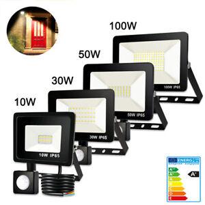 LED Fluter mit Bewegungsmelder 10W 30W 50W 100W Außen Strahler Scheinwerfer IP65
