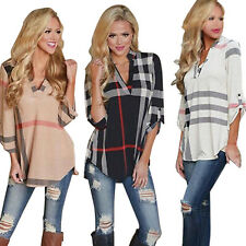 Womens Striped Plaid Long Sleeve Blouse Ladies Top T Shirt Loose Casual Tops New