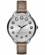 Marc Jacobs Betty Crystallized Silver Dial Cement Leather Ladies Watch MJ1476