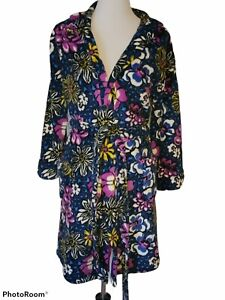 Vera Bradley Blue Floral Print Short Hooded Robe Plush Cozy Pockets Size S/M