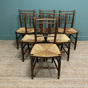 Set of Six Georgian Elm Country House Antique Dining Chairs