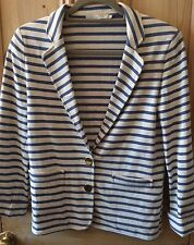 Stripe Jersey Jacket By SANDRO size 38/s Cream And Blue#Preowned Great Condition