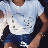 Women It's a Tea Shirt Funny Letters Casual Blouse Top Tee Short Sleeve T-Shirt