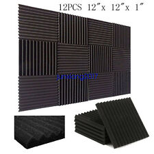"12 Pack Acoustic Panels Studio Soundproofing Foam Wedges 1"" X 12"" X 12"""