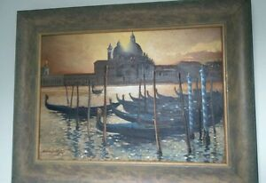 Oil on canvas representation of Venice