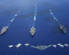 Air Force B-2 Above Uss Kitty Hawk/Reagan/Lincoln Carriers 8X10 Photo U.S. Navy