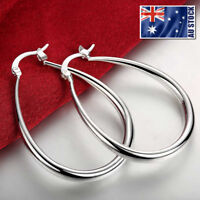 Stunning 925 Sterling Silver Filled SP Large Oval Hoop Huggie Earrings