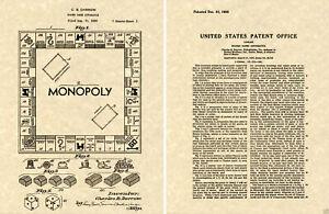 Monopoly 1935 Eu Charol Arte Estampado Listo Para Marco Darrow Tablero de Juego