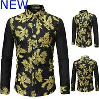 Top Floral Luxury Mens Shirt Dress Shirts Slim Fit Stylish Long Sleeve Casual