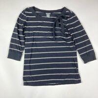 Ann Taylor Womens Blouse Black Stripe 3/4 Sleeve Tie Bow Scoop Neck Stretch S