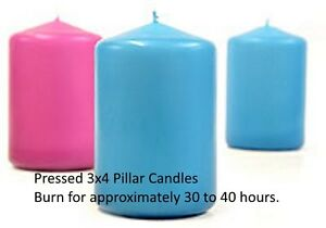 Pressed Pillar  Candles, Unscented, Different sizes and colors. Made in USA