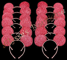 Minnie Mickey Mouse Ears Headbands 24 pc Shiny PINK Birthday Party Costume DIY