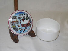 Vintage Villeroy and Boch NAIF CHRISTMAS Round Covered Trinket Box 2 7/8""