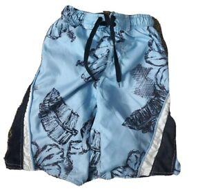 BURNSIDE Boy's 5/6 blue lines mesh pockets Swim/Surf Shorts