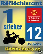 1 Sticker REFLECHISSANT département 12 rétro-réfléchissant immatriculation MOTO
