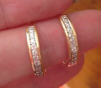 18K Yellow Gold Diamond Hoop Earrings 240