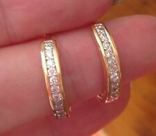 18K Yellow Gold Diamond Hoop Earrings 240