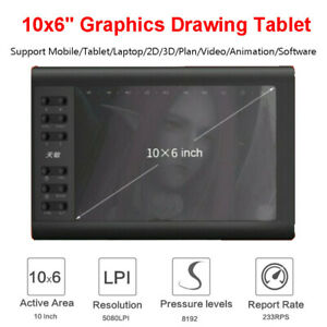 "10x6"" 1060Plus Drawing Graphics Tablet Large Screen USB Art LPI Painting Board"