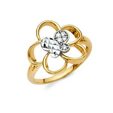 Flower Butterfly Ring CZ Solid 14k Yellow White Gold Band Cocktail Ring Two Tone