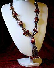 Amazing Vintage Pink  Orange Coral Purple Plastic Beads Necklace pendant 1980'