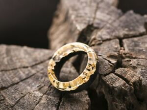Wood resin ring Gold Eco epoxy jewelry Golden Mountains ring Sunshine ring