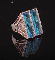 Turkish Handmade Aqua Marine Sterlign Silver 925K Ring Size 10 #AMY41