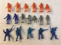 Vintage Lot Army Soldiers & Astronauts Plastic Figures - Orange, Green and Blue