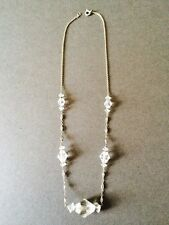 ART DECO VINTAGE GLASS BEAD NECKLACE CLEAR  COSTUME JEWELLERY