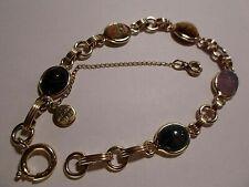 BigRix Vintage Catamore 12K Gold Fill Gf Semi-Precious Carved Scarabs Bracelet