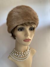 """Vintage Camel Beige1950s Cossack Style Real Fur Hat Fabric Lining Size 20"""""""